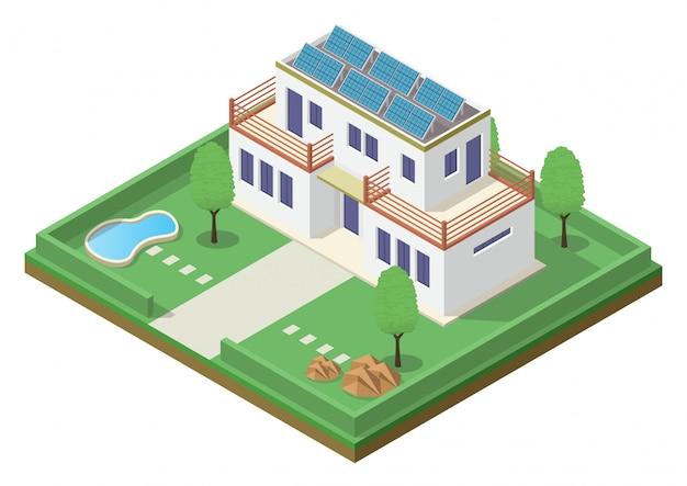Izometryczny zielony dom przyjazny dla środowiska z panelem słonecznym.