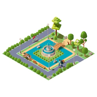 Izometryczny zielony park miejski dla rekreacji