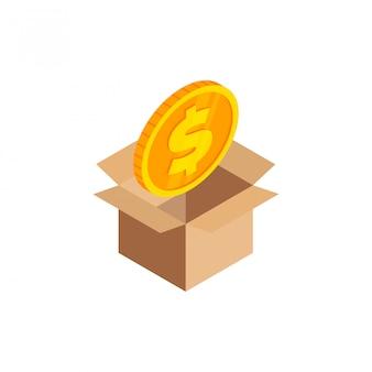 Izometryczny złota moneta z symbolem dolara, ikona pieniądze 3d w otwartym pudełku tekturowym