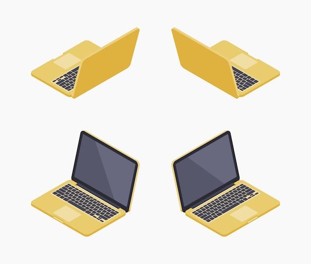 Izometryczny złoty laptop