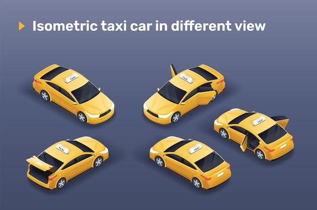 Izometryczny żółty samochód taxi w innym widoku (z otwartymi drzwiami i bagażnikiem).