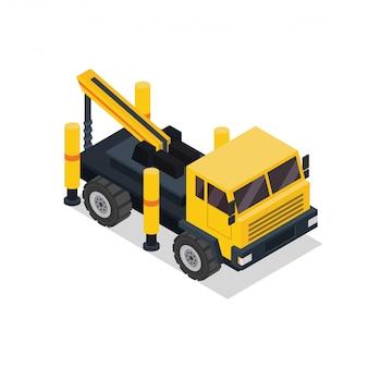 Izometryczny żuraw hydrauliczny pojazd budowlany ciężarówki