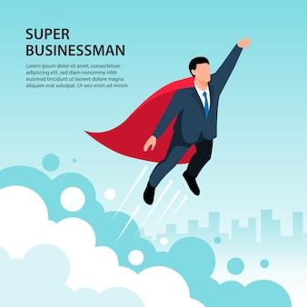 Izometryczny zwycięzca super biznesmen sobie czerwoną pelerynę 3d izometryczny