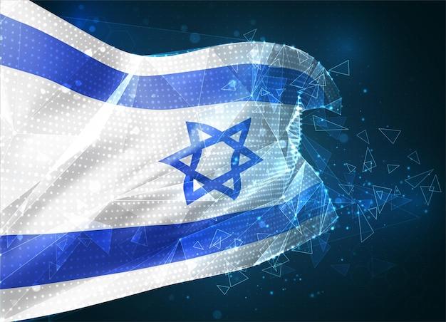 Izrael, flaga wektorowa, wirtualny abstrakcyjny obiekt 3d z trójkątnych wielokątów na niebieskim tle