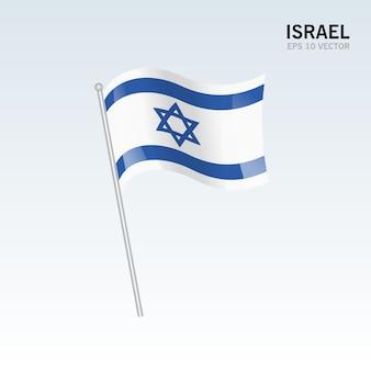 Izrael macha flagą na białym tle na szarym tle