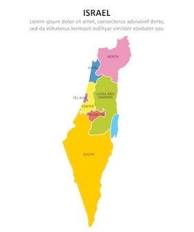 Izrael wielobarwna mapa z regionami.
