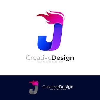 J logo i projektowanie ognia kolorowe, ikona stylu 3d