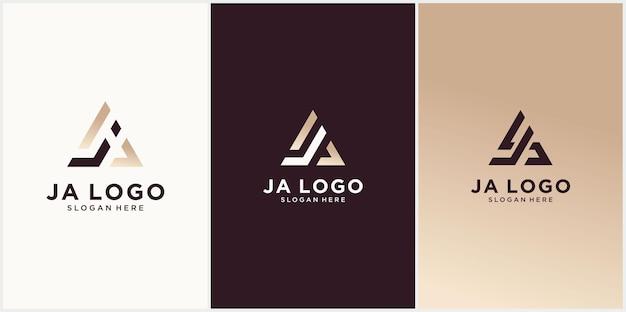 Ja logo szablon projekt ja hexagon initial monogram z luksusowym logo w kolorze złotym ja