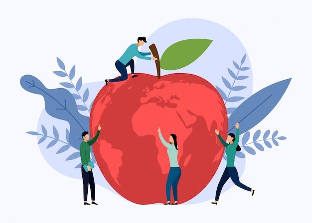 Jabłczana światowa mapa, eco życzliwy pojęcie, wektorowa ilustracja