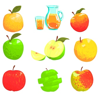 Jabłka i sok jabłkowy cool style jasne ilustracje
