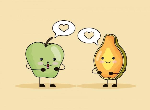 Jabłko i papaja świeże owoce kawaii znaków