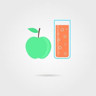 Jabłko i szklankę soku pomarańczowego z cieniem. koncepcja dietetycznych posiłków fitness, gotowanie, przeciwutleniacz, smoothie, nieprawidłowa żywność, picie deseru. płaski styl modny nowoczesny projekt logo ilustracja wektorowa
