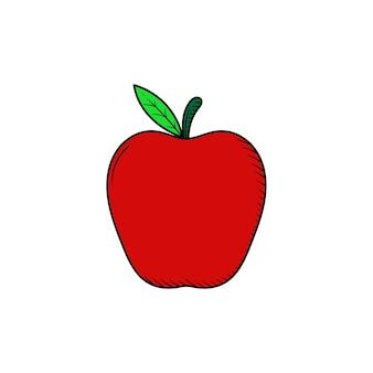 Jabłko ręcznie rysowane ikona ilustracja na białym tle