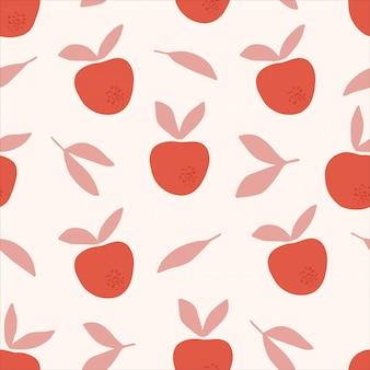 Jabłko sylwetki płaski wzór. karmowy abstrakcjonistyczny rysunek kształtuje na beżowym tle. kreatywny druk, tapeta, modny element wystroju domu