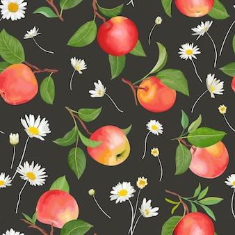 Jabłko wzór kwiaty tło bezszwowa tekstura