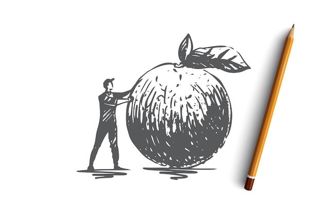 Jabłko, żywność, owoce, świeże, ekologiczne pojęcie. ręcznie rysowane człowiek i szkic koncepcji duże jabłko. ilustracja.