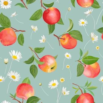 Jabłkowy wzór z jesiennymi owocami i liśćmi stokrotki