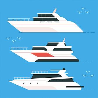 Jacht i łódź płaski zestaw na białym tle na tle.