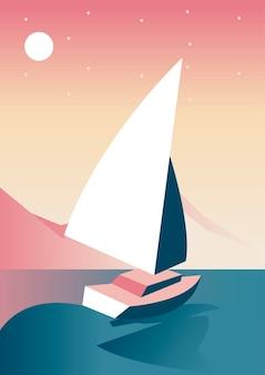 Jacht w jeziorze aventure podróży krajobraz scena wektor ilustracja projekt
