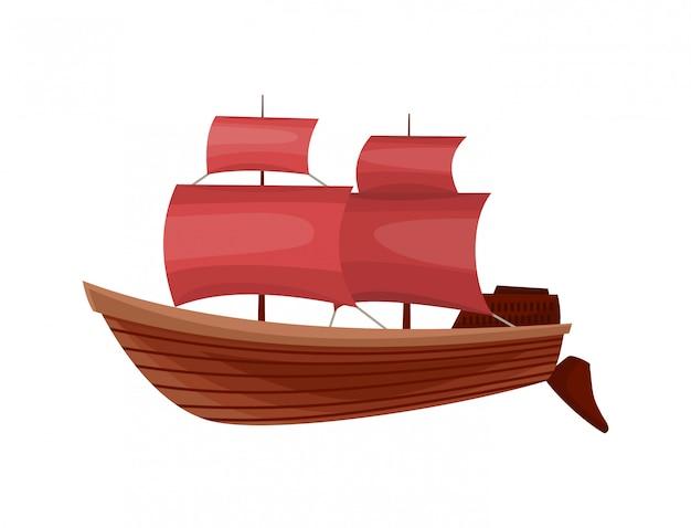Jacht żaglowy lub żaglowiec morski. biuro podróży wycieczkowych. symbol żaglowca