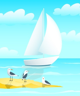 Jacht żaglowy projekt łodzi z mewami morskimi i kreskówką na brzegu.