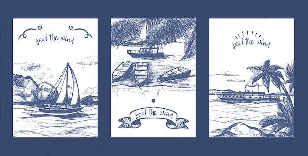 Jacht żeglarski, żaglówki i statek szkic wektor zestaw kart. ręcznie rysowane statek jachtu. regaty żeglarskie morskie i morskie.