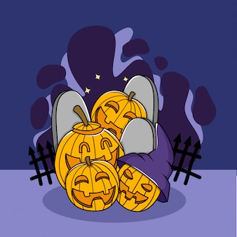 Jack o lantern doodle postacie