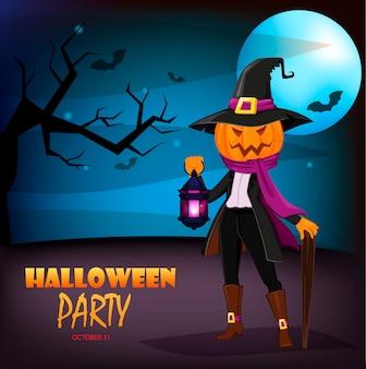 Jack o 'lantern z dynią zamiast głowy. zaproszenie na przyjęcie halloween