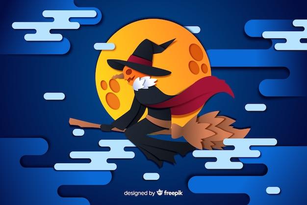 Jack o latarnia na tle pełni księżyca halloween