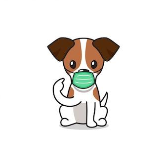Jack russell terrier postać z kreskówki pies jest ubranym ochronną maskę