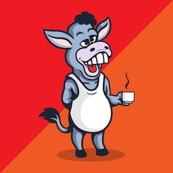 Jackass maskotka postać z logo trzyma filiżankę kawy.