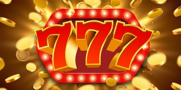 Jackpot 777 znak ze złotymi realistycznymi monetami 3d.