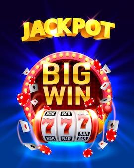 Jackpot big win automaty 777 banner kasyna. ilustracja wektorowa