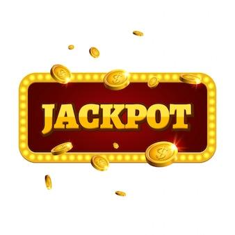 Jackpot casino etykieta tło znak. kasyno jackpot monety pieniądze zwycięzca tekst świecący symbol na białym tle