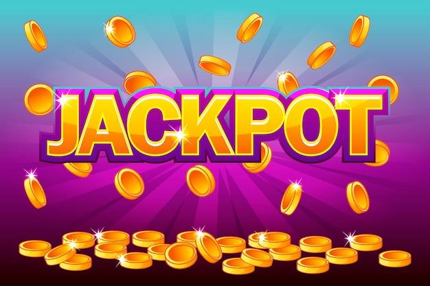 Jackpot i spadające z góry złote monety. wektor splash monety, deszcz pieniędzy. ilustracja wektorowa dla kasyna, automatów, ruletki i gry ui. obiekty na osobnej warstwie