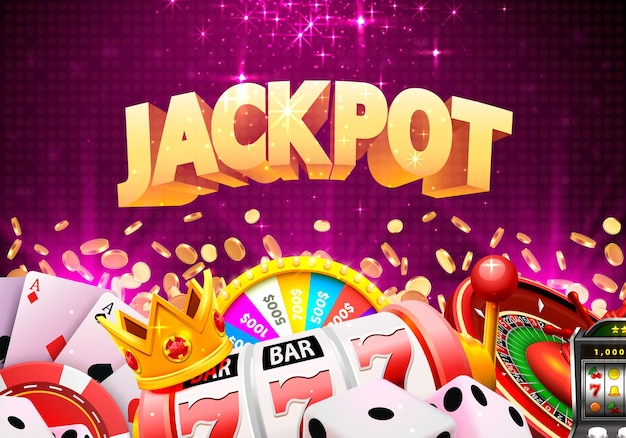 Jackpot kasyno duży baner kolaż wygranej. ilustracja wektorowa