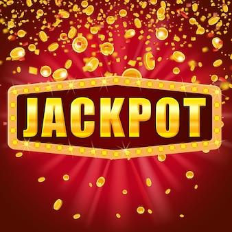 Jackpot słowo lśniący znak retro oświetlony reflektorami spadającymi monetami i konfetti. kasyno loteryjne