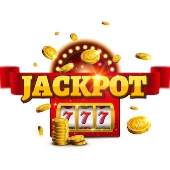 Jackpot tło zwycięzca slot casino znak. duża gra pieniądze banner 777 konstrukcja maszyny bingo