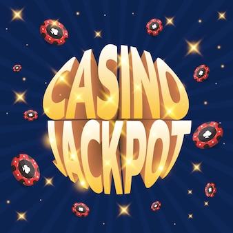 Jackpot w kasynie z czerwonymi żetonami może być używany jako baner na ulotkę lub reklamę