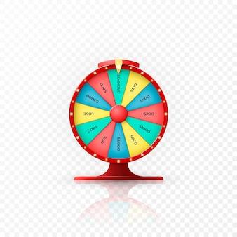 Jackpot wygrywa w kole fortuny. koło fortuny na przezroczystym tle. ilustracja