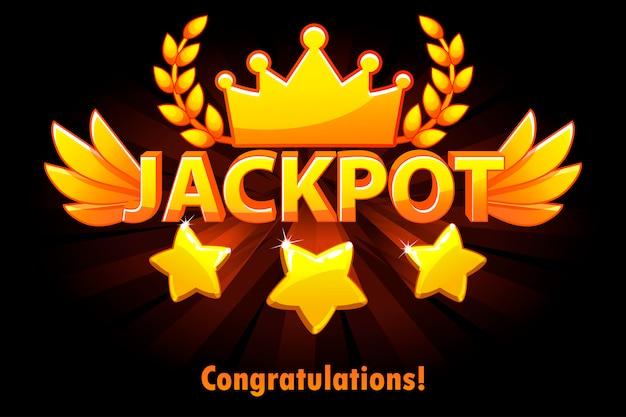 Jackpot złota etykieta w kasynie z spadającymi gwiazdami na czarnym tle. zwycięzca nagrody głównej w kasynie ze złotym tekstem i skrzydłami. obiekty na osobnych warstwach.
