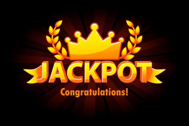 Jackpot złota kasyno lotto etykieta z koroną na czarnym tle. zwycięzca jackpotu w kasynie ze złotym tekstem i wstążką. obiekty na osobnych warstwach.