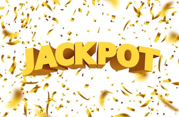 Jackpot znak ze złotym realistycznym konfetti spadające 3d.