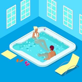 Jacuzzi w pomieszczeniu z kobietą i mężczyzną. ludzie izometryczni. ilustracji wektorowych