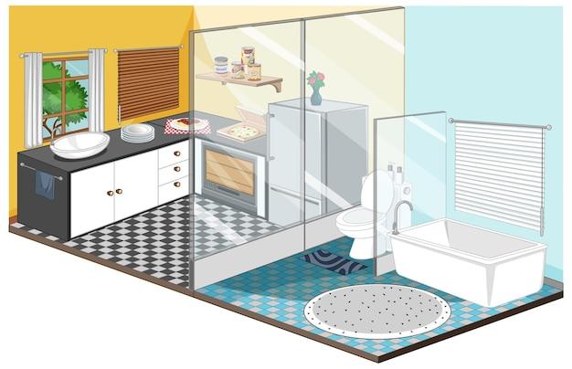 Jadalnia z wnętrzem łazienki