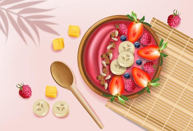 Jagodowa miska smoothie na różowym tle wektor realistyczne makiety