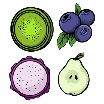 Jagodowa smok owocowa gruszka i kiwi owoc pakujemy projekt ilustrację