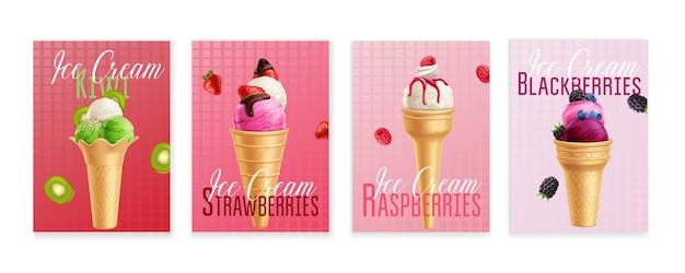 Jagodowe gałki lodów w rożkach waflowych na ustawionych plakatach reklamowych