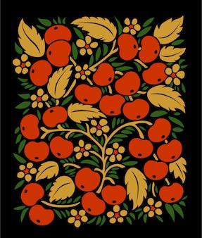 Jagody jarzębina z roślinnym motywem na czarnym tle w kwadratowym kształcie. tradycyjny rosyjski ornament.