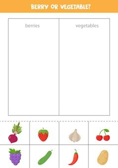 Jagody lub warzywa gra w sortowanie dla dzieci w wieku przedszkolnym edukacyjny arkusz logiczny